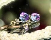 Northern Lights Petite Dangle Earrings Vintage Swarovski Crystals Fairytale Rose Plum Indigo