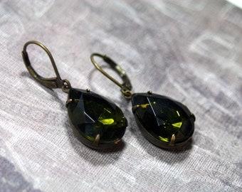 Olive Green Estate Rhinestone Earrings Pear Shape Vintage
