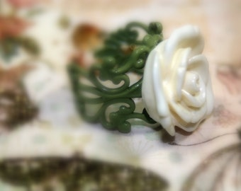 Fresh Picked White Rose Adjustable Scroll Ring