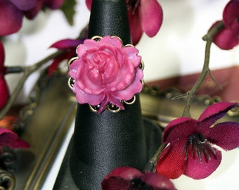 Plumy Pink Poesy Ring Antique Brass Adjustable