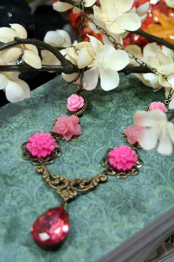 American Beauty Vintage Glass Rhinestone Necklace Roses Star Flower Gypsy Boho Fairytale Enchanted