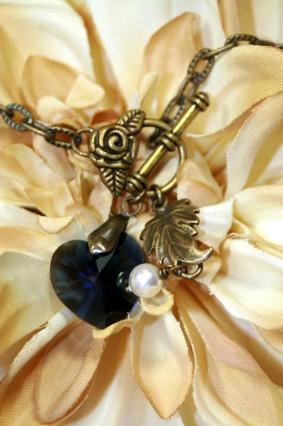 Pearls at Midnight Romantic Antique Brass Anklet Unique