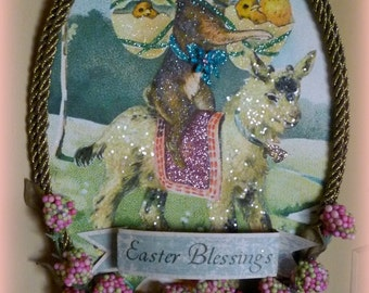 Vintage Easter Bunny Riding a Goat Glittery Plaque