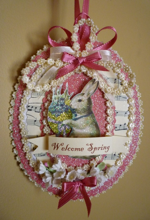 Welcome Spring Vintage Inspired Easter Ornament