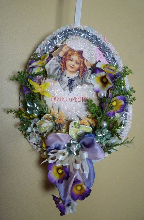 Vintage Inspired Easter Egg Ornament / Wall Hanging