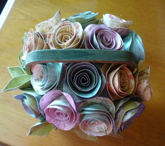 Little Green Country Basket filled with Tiny Paper Roses