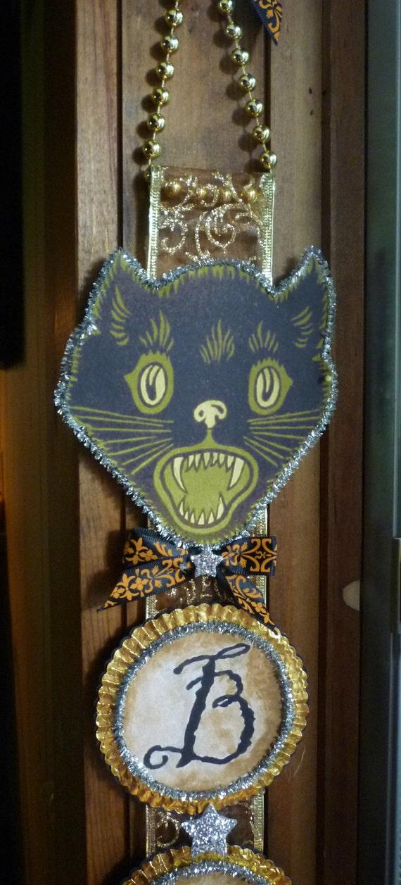 Vintage Inspired Vertical Banner - BOO Black Cat