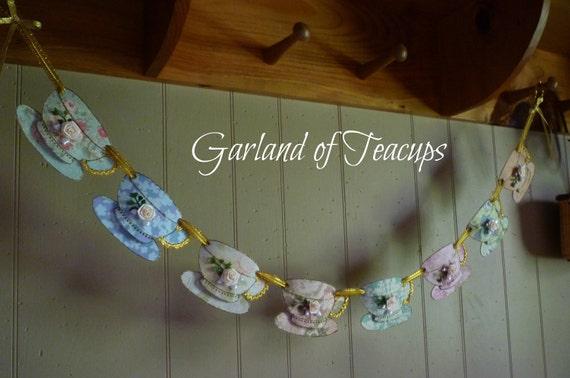 SALE - Garland of Teacups - Paper & Felt