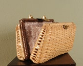 Vintage 1960s DOUBLE FUN Large Wicker Picnic Purse that Opens on Both Sides