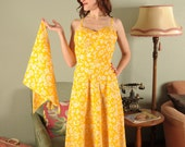 FAB GABS CLEARANCE Lemonade Stand... A Saucy 1970s Seersucker Sundress with Matching Shawl.