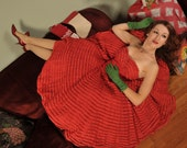 Vintage 1950s FESTIVE FRILLS Fantastic Strapless Red Holiday Party Dress