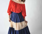 50% OFF CLEARANCE Vintage 1950s Skirt // Navy Blue Polished Cotton and Eyelet Lace Dancing Skirt