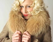 Vintage 1960s Coat // The Felice Woven Wool Coat with Fox Collar