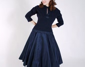 Vintage 1950s Dress - Dramatic Wool and Taffeta Drop Waist New Look Fit and Flare Dress