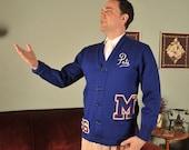 Vintage 1960s School Sweater // The Football Champ Blue Wool Cardigan School Letter Sweater M