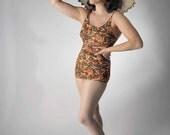 Vintage 1970s Jantzen Swimsuit // Thin Nylon Burnt Orange and Green Bathing Suit