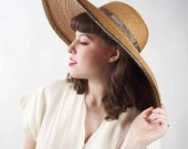 Vintage Wide Brimmed Hat // 1980s KOKIN Straw Picture Hat with Metallic Trim