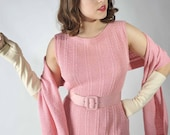 Vintage 1960s Sweater Dress // Rose Pink Dress Set with Matching Scarf