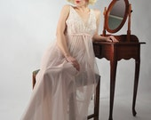 Vintage 1960s Nightgown // The Waiting for You Floating Double Nylon Pale Pink Vanity Fair Nightgown 36