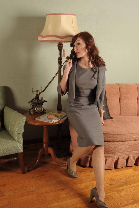 Silver Secretary A Smart Late 1950s Gray Suit Dress By