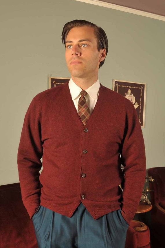Vintage 1960s Sweater // Mens Fashion at Fab Gabs: The GlenAbbey Burgundy Wool Cardigan