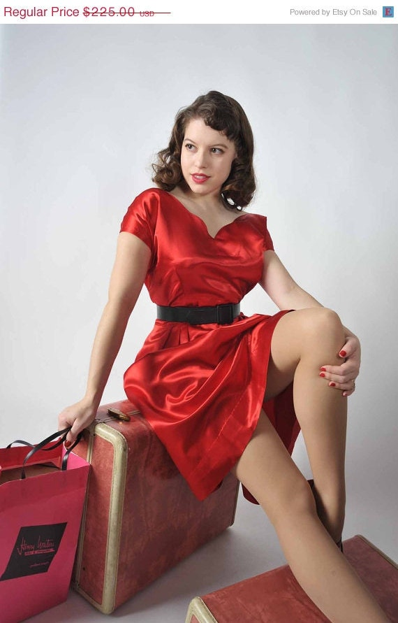 48-Hour Sale - Vintage 1950s Party Dress // The Sweetheart Red Satin Rockabilly Dress XL