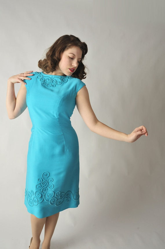 Vintage 1950s Dress // The Robinette Bight Turquoise Blue Wiggle Dress with Soutache