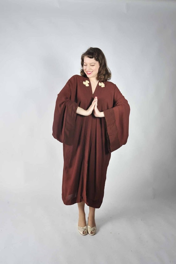 RESERVED Vintage 1920s Robe //  The Lucky Clover Silk Crepe Asian Inspired Robe