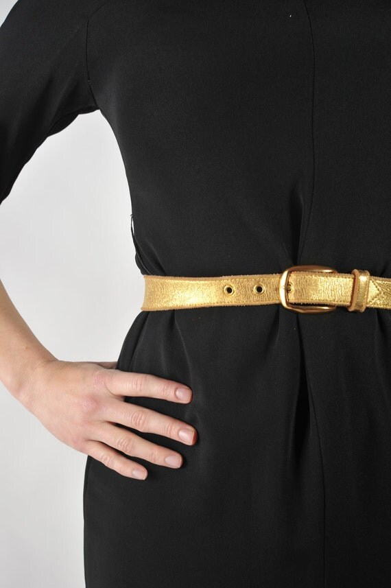 Vintage 1950s Belt // Gold Metallic Rockabilly Bombshell Leather Belt XS S