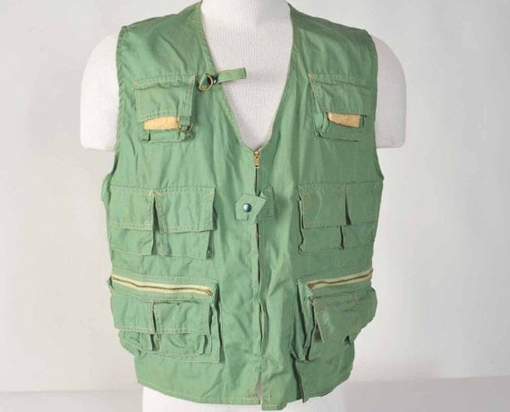 Vintage Fishing Vest // 1960s Fishing Vest with all the Bells and Whistles Great for Fathers Day Size XL