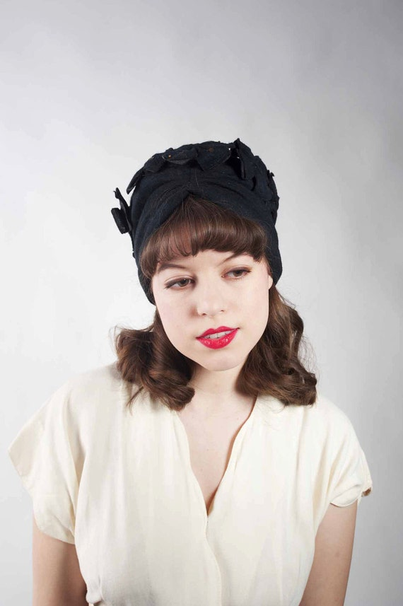 Vintage 1940s Hat // The Fatale Step Black Jersey Turban Trimmed with Flowers