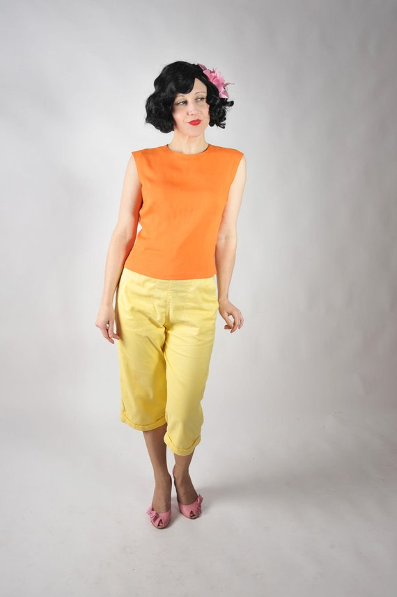 Vintage 1950s Blouse // Late 50s Rayon Sleeveless Shell in Tangerine
