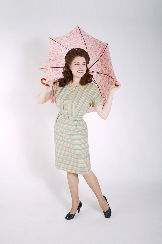 Vintage 1950s Dress // Sexy and Sweet Bright Pastel Striped Wiggle Dress