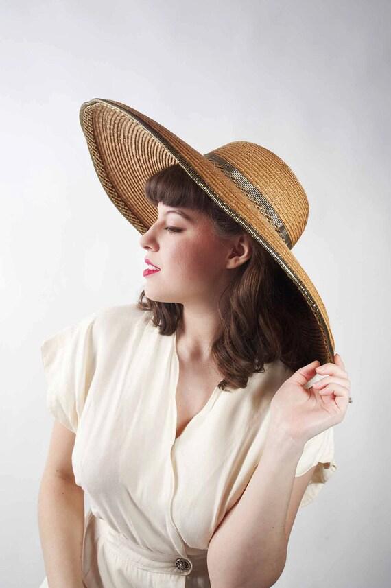 Vintage Wide Brimmed Hat // 1980s KOKIN Straw Picture Hat with Metallic Trim