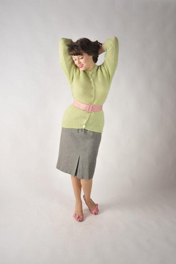 Vintage 1960s Sweater // Lime Green Darlene Mohair Blend Cardigan Sweater L XL