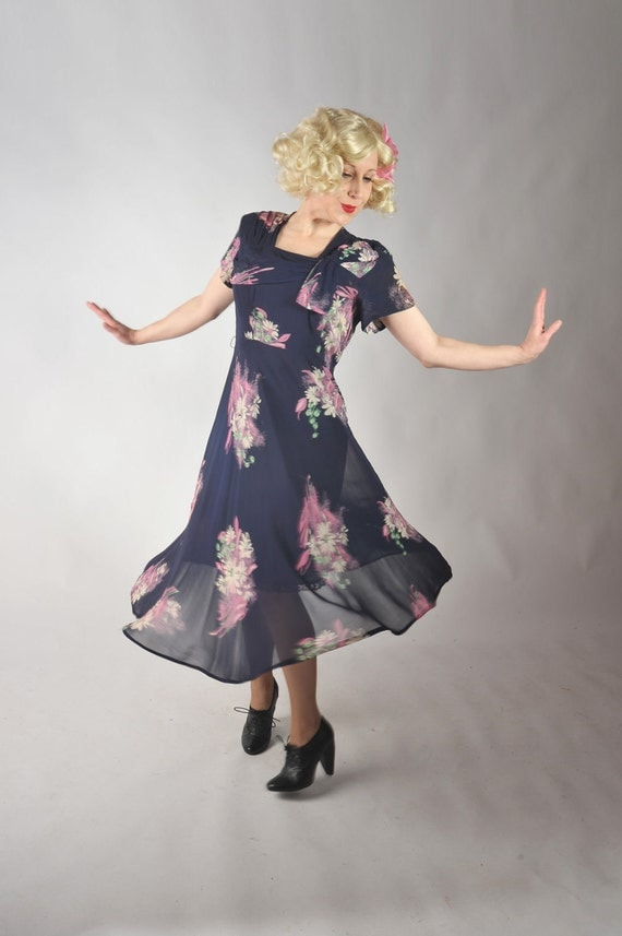 Vintage 1940s Dress // Sheer Navy Rayon Floral Print Dress