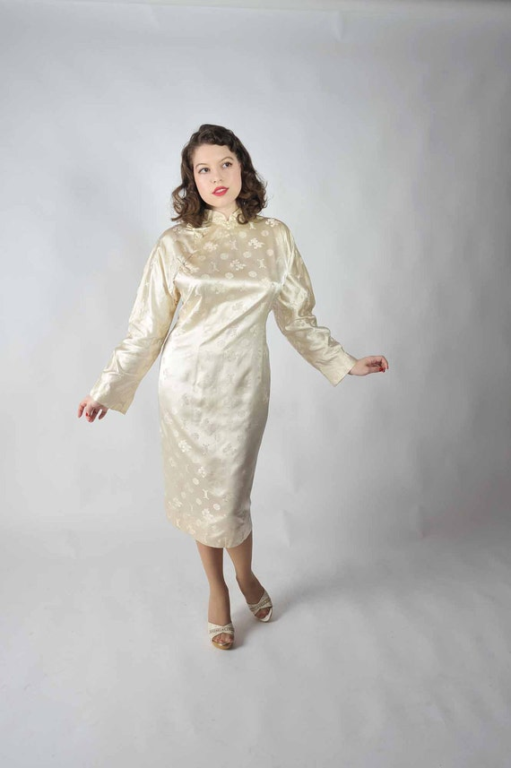 Vintage 1950s Dress // Bombshell Ivory Silk Cheongsam Wiggle Dress XL XXL