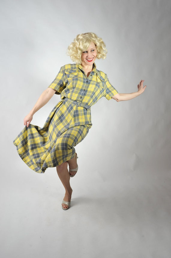 Vintage 1940s Dress // Smart Wool Day Dress in Yellow and Gray Plaid