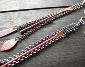 stitched chain with copper earrings