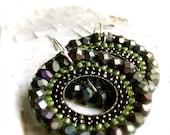 Bead Woven Olive Green Round Hoop - Earrings - 'Coraline'