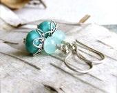 Amazonite, Glass, Sterling - Stone Earrings - 'Blue Waters'