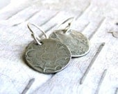 Textured Silver Disk - Earrings - Craters - Handmade Fashion