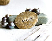 Mom Personalized Brass, Lilac Pearl - Bracelet -My Mother no.1 - Handmade Fashion