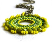 Lime Yellow Glass Seed Beaded, Brass - Beadwoven Necklace -Neon Lemon Zinger - Handmade Fashion