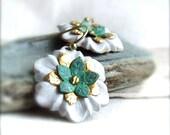 White Verdigris Brass Flowers - Patina Earrings - Spring Fashion - Riveted Earrings