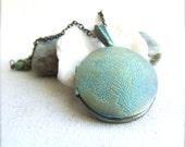 Turquoise Verdigris Patina Brass Flower Locket  Necklace - Spring Fashion