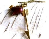Red Patinaed Brass Heart, Brass Arrow - Necklace -