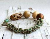 Hand Patinaed Verdigris Chain, Brass - Patina Bracelet -Wander - Handmade Fashion - Summer Trends