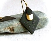 Black Patina Brass Diamond Teardrop - Patina Earrings -Black and Gold Dangle EarringsJewellery