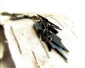 Navy Blue Patina Brass Lightning Bolts - Patina Necklace -Blue Lightning - Fall Fashion
